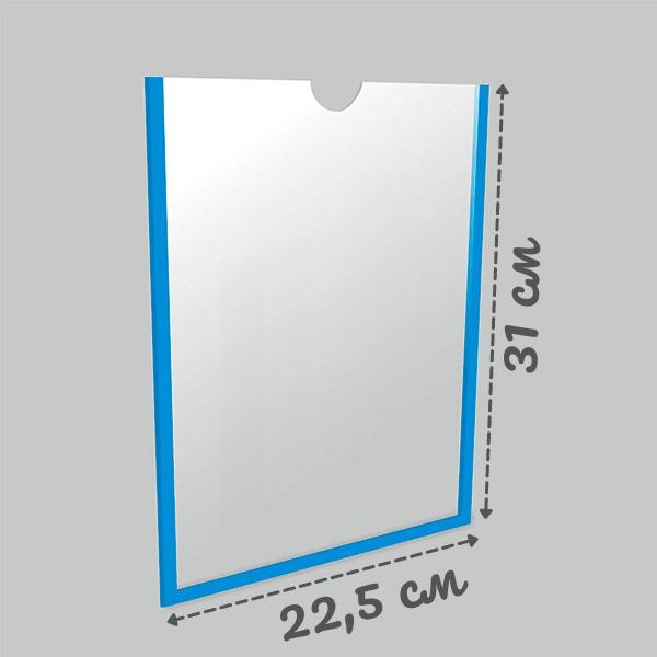 Карман настенный а4 самоклеющийся вертикальный Пэт 1 мм (белый скотч)