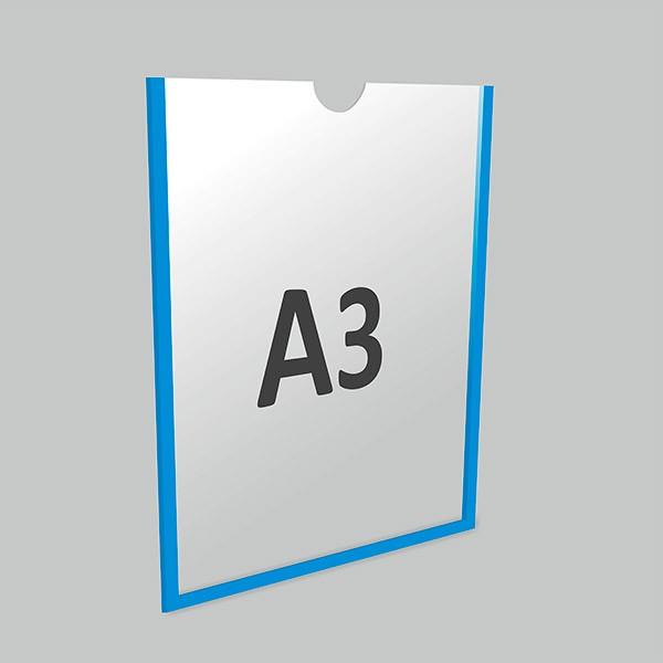 Карман А3 вертикальный самоклеящийся Акрил 1 мм, белый скотч