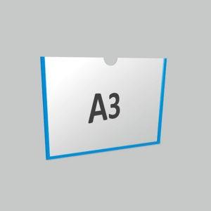 Карман А3 горизонтальный самоклеящийся Акрил 1 мм, белый скотч