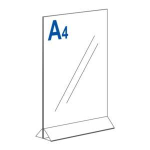 Тейбл тент А4 вертикальный на прозрачном основании