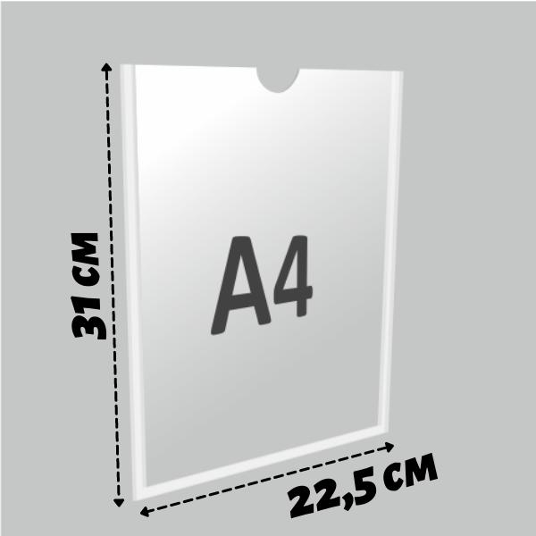 Карман информационный А4 самоклеющийся вертикальный Пэт 1 мм (прозрачный скотч)